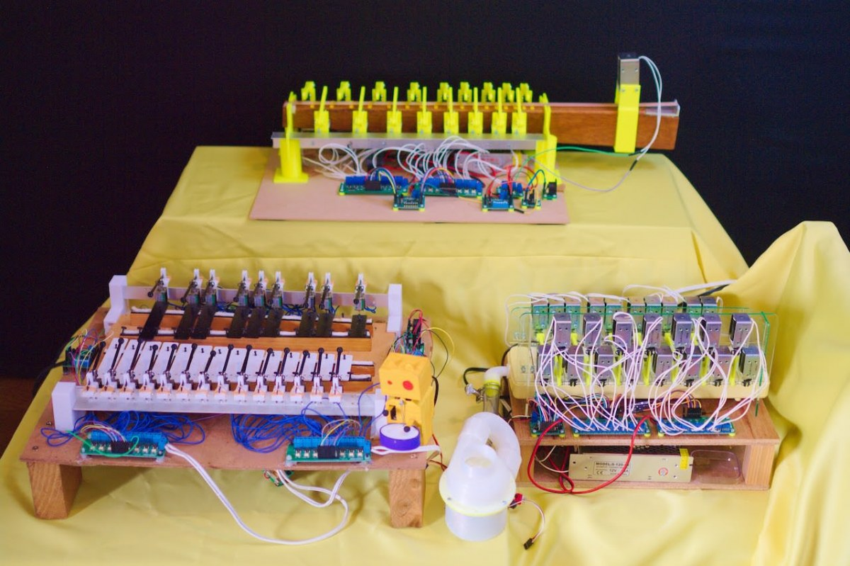 necobit 自動演奏グロッケン&キャットボット太鼓・ゴムベース・鍵盤ハーモニカ&MIDI制御送風ファン