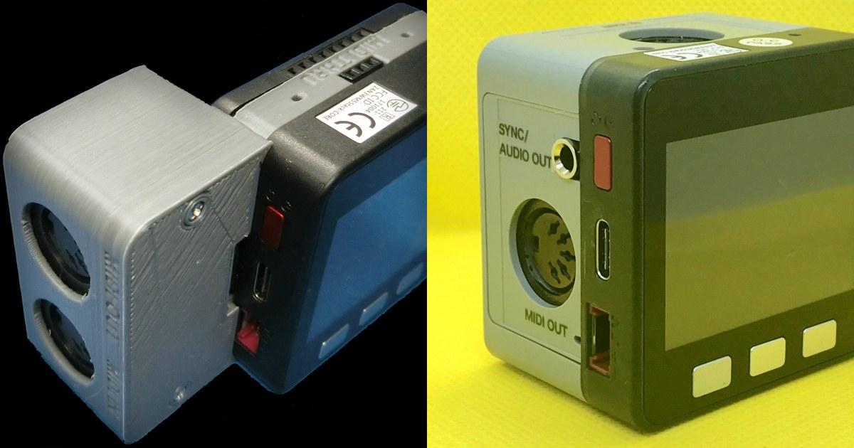 M5Stack用MIDIモジュール、初期版(3Dプリンタ製)・2(射出成形) ケース側面比較