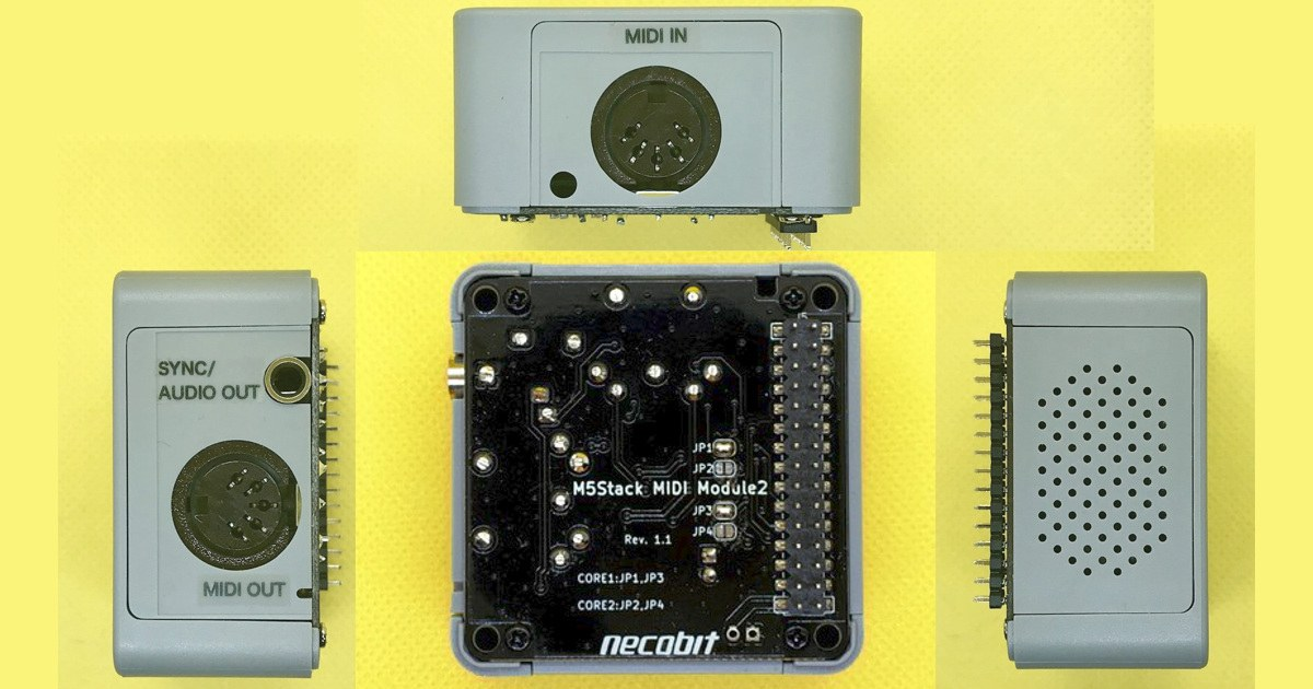 M5Stack用MIDIモジュール 2 。左側面にラインアウト、右側面にスピーカーがあります。