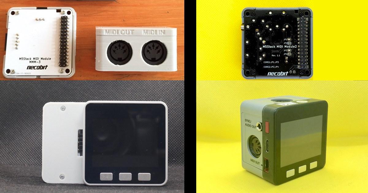 M5Stack用MIDIモジュール。左:初期版 右:2