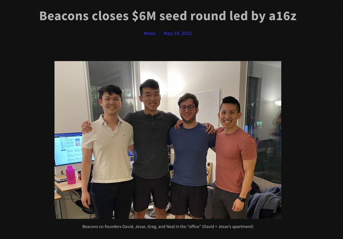 出典:https://blog.beacons.ai/beacons-closes-6m-seed-round-led-by-a16z/