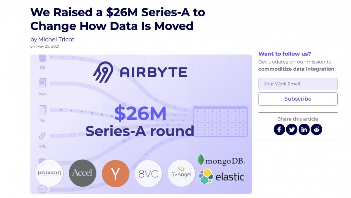 出典:https://airbyte.io/blog/airbyte-raised-a-26m-series-a-to-change-how-data-is-moved