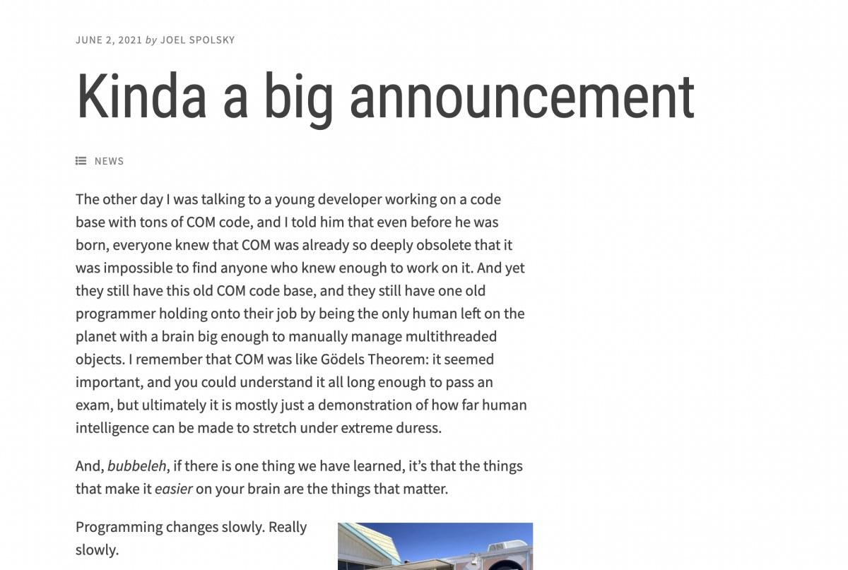 出典:https://www.joelonsoftware.com/2021/06/02/kinda-a-big-announcement/