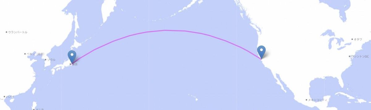 東京〜サンフランシスコの大圏航路(地理@沼津高専のウェブサイトで作成)
