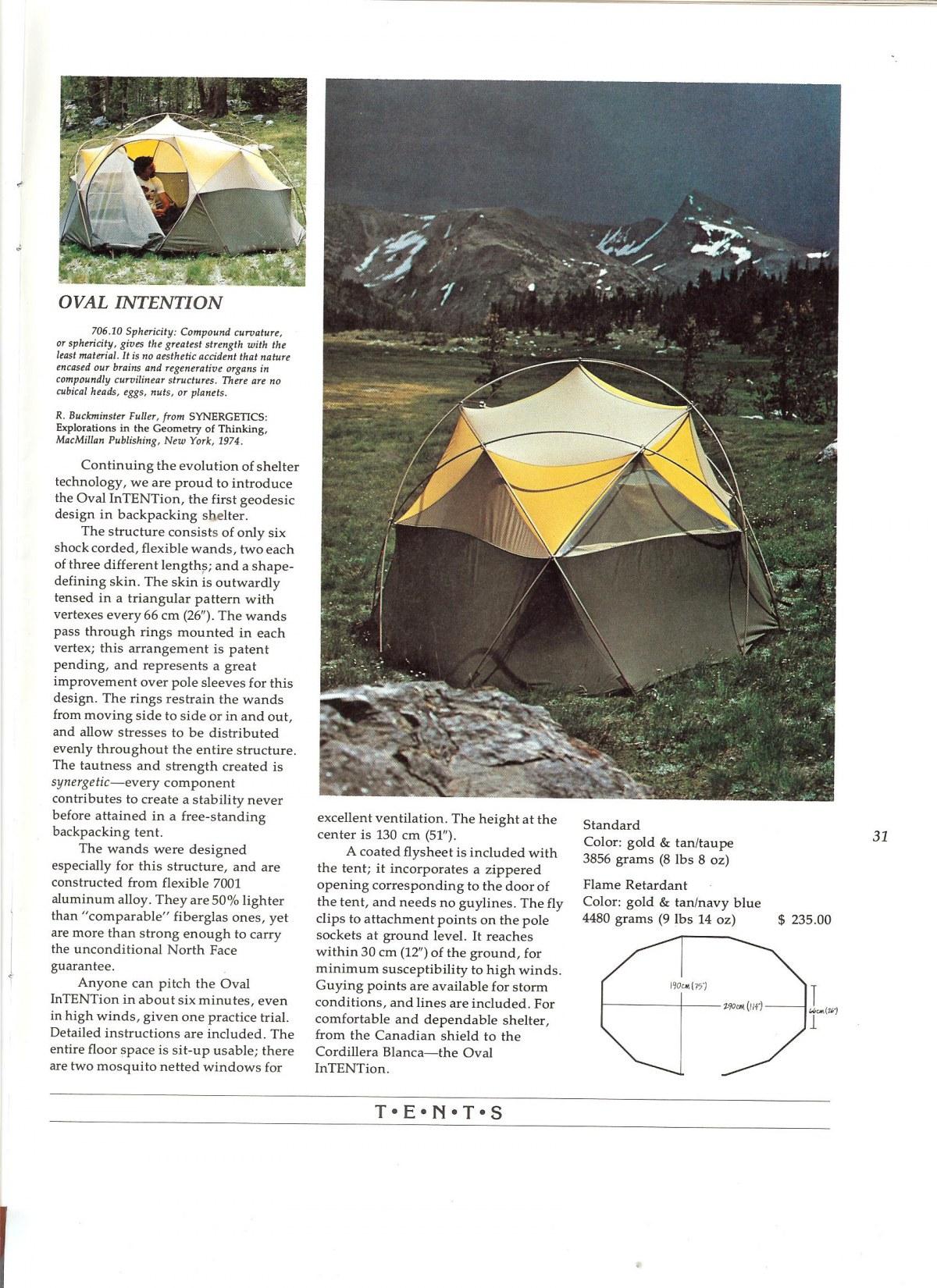 世界初のドーム型テントの広告 (The North Face, 1975)