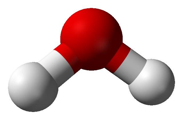 水分子のイメージ.赤が酸素,白が水素を表す.