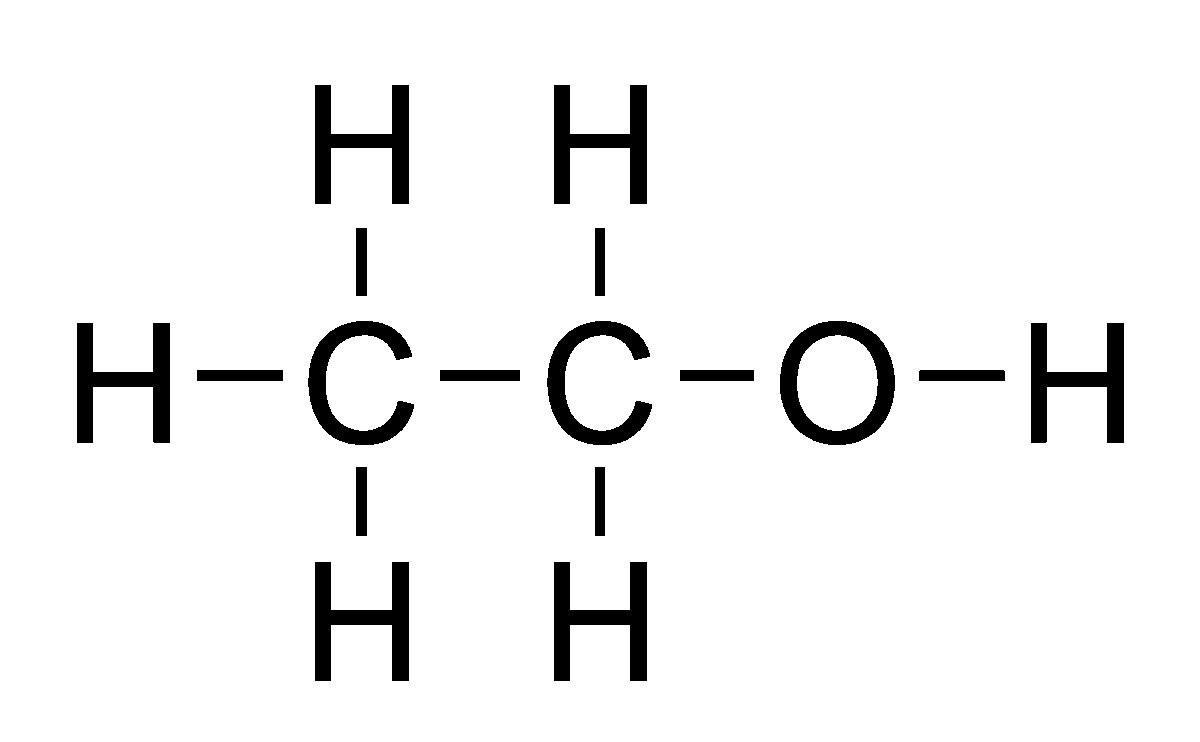 エタノールの構造(Cが炭素,Oが酸素,Hが水素を表す)